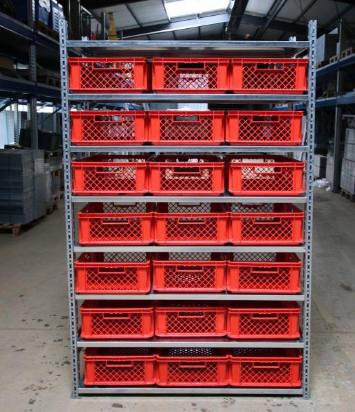 2A Qualität SSI Fachbodenregal R 3000 Set inkl. 8 Fachböden und 21 Stück EF 6183 Kästen